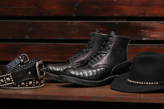[ホワイツ] WHITE'S BOOTS Classic Lace up Boot C461 Last Black Caiman ワニ革カスタムブーツ