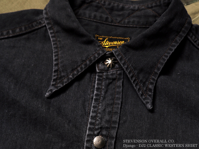 STEVENSON OVERALL CO. Django - DJ2 CLASSIC WESTERN SHIRT Washed Black