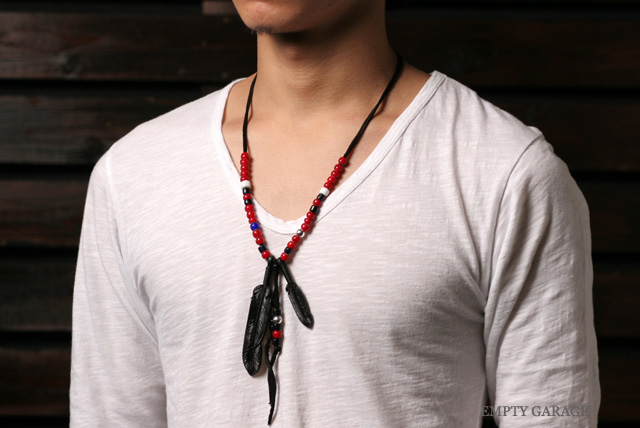 Rooster King & Co. Carved Leather feather Necklace