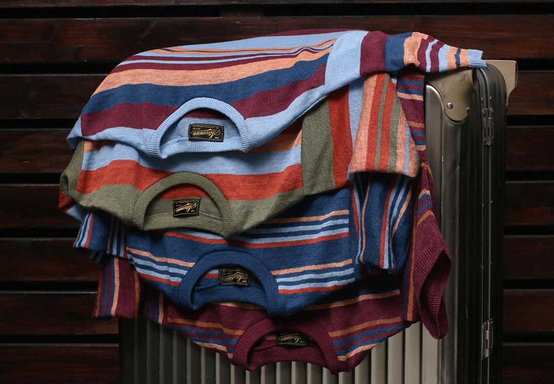 STEVENSON OVERALL Co. (麻) Classic Bordered Linen Knit Shirt - LK