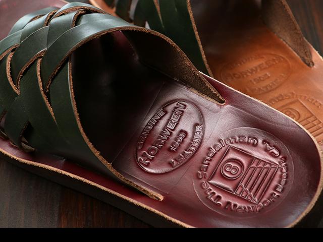 The Sandalman Weave Green x Burgundy Chromexcel