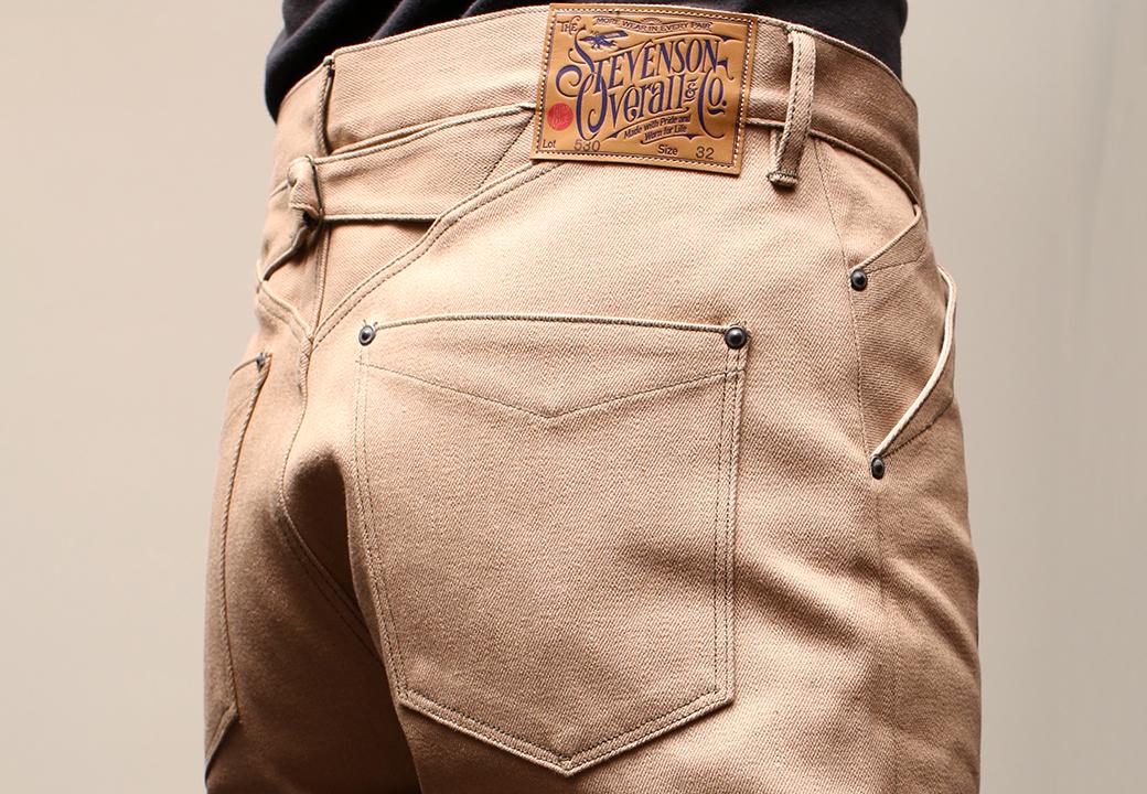 Stevenson Overall Co. Coloma - 530 BUCKLE-BACK STRAIGHT LEG Beige Denim Pants