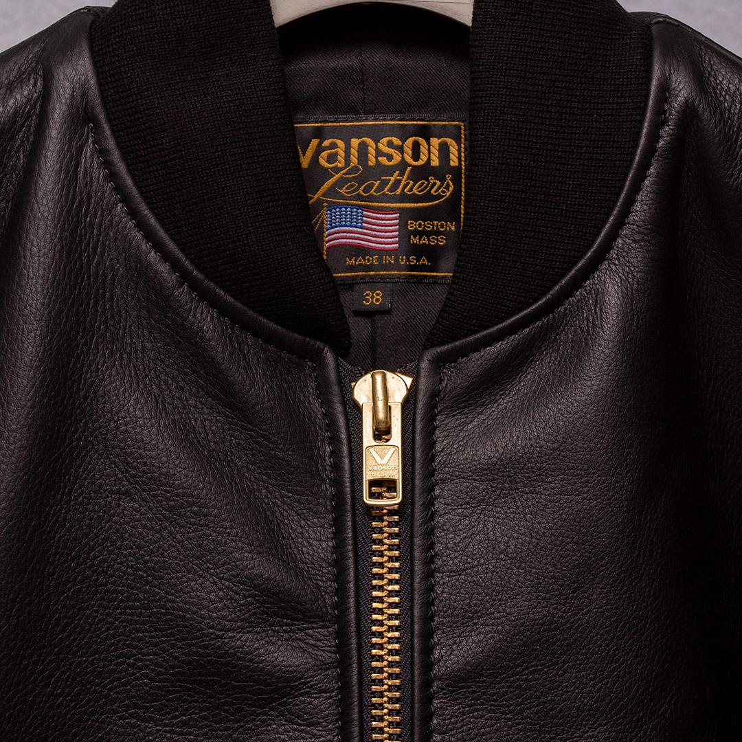 Vanson Special Custom Team Jacket Black ディアタンカウハイド