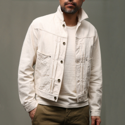 STEVENSON OVERALL CO. Saddle Horn Type II - 102 FRONT PLEATED WORK JACKET 9.7oz Raw Ivory Denim