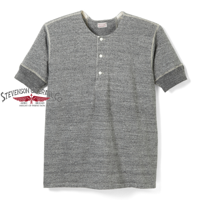 STEVENSON OVERALL CO. 2018SS Loop Wheel Short Sleeve Henley - HL