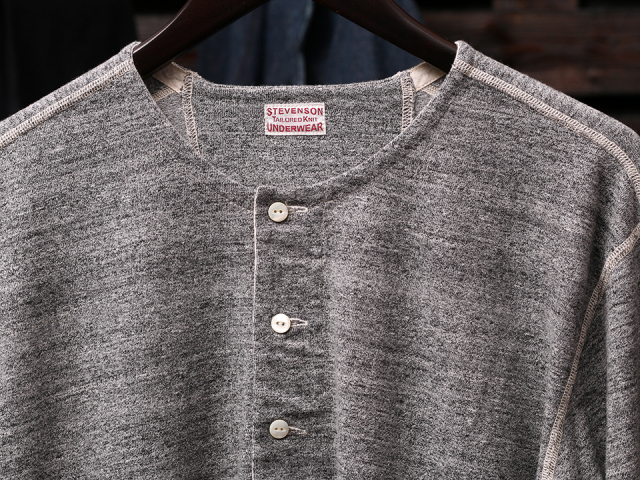 STEVENSON OVERALL CO. Loop Wheel Long Sleeve Henley - HL Heather Gray