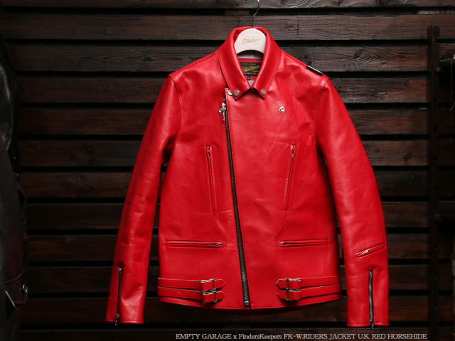EMPTY GARAGE別注 FindersKeepers FK-W.RIDERS JACKET U.K. RED HORSEHIDE